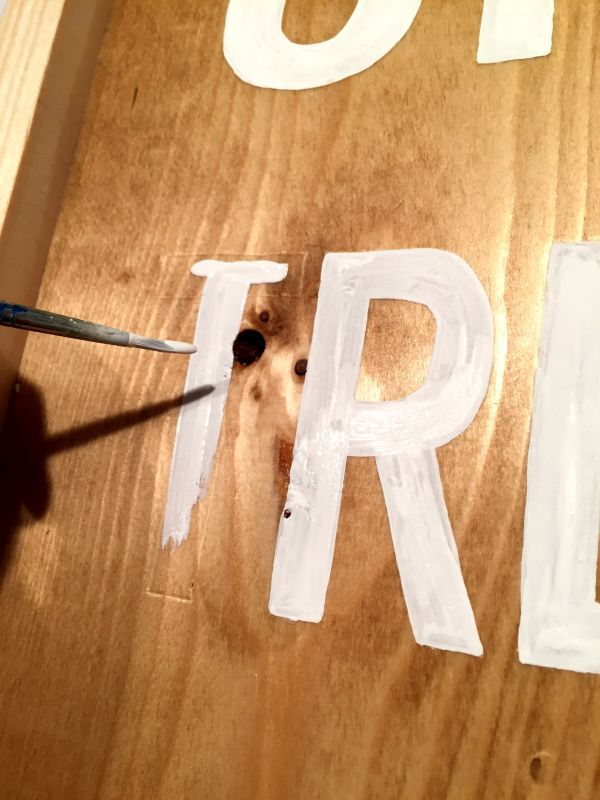 handpainting letters onto wood