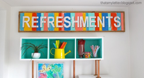 large refreshments planked sign for party decor