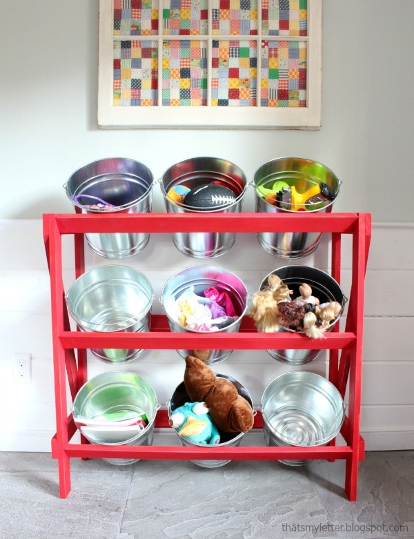 diy open shelving with buckets