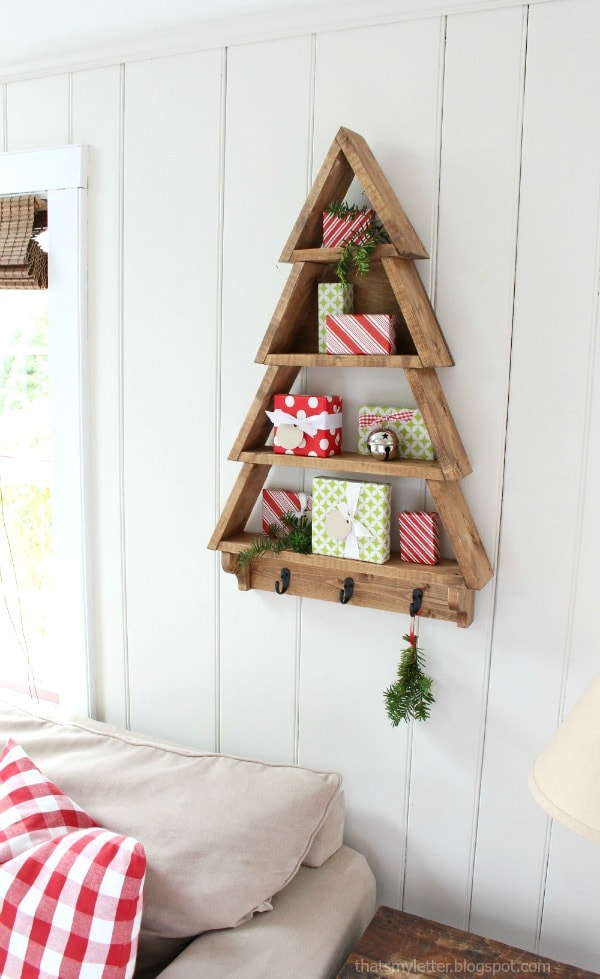 diy wood tree shaped wall shelf