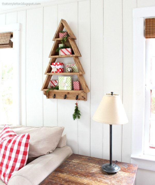 build a wood tree shaped open shelf