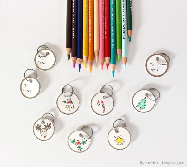 coloring gift tags with colored pencils