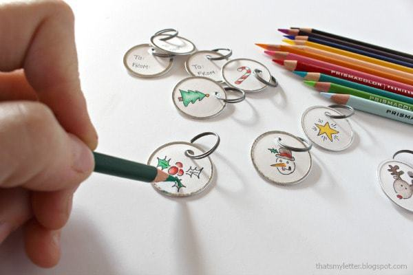 coloring inside the lines on gift tags