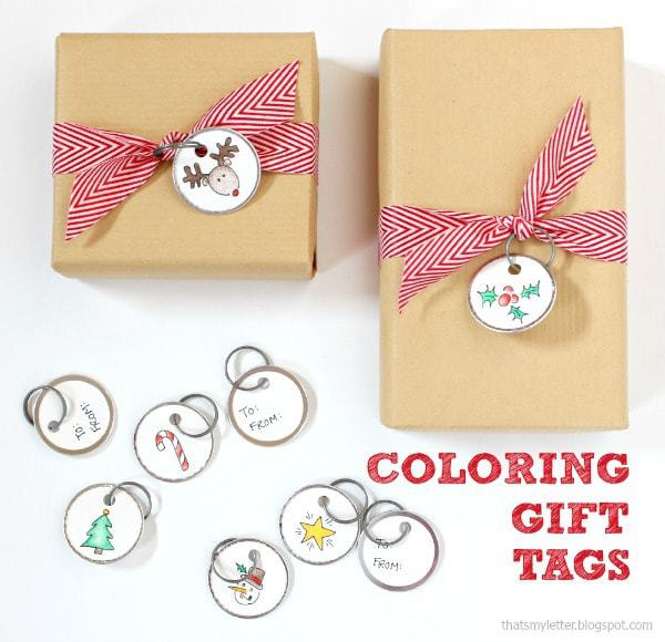 coloring gift tags