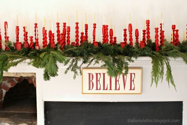 repurposed railing spindles Christmas mantel