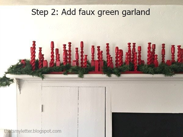 repurpose railing spindles Christmas mantel