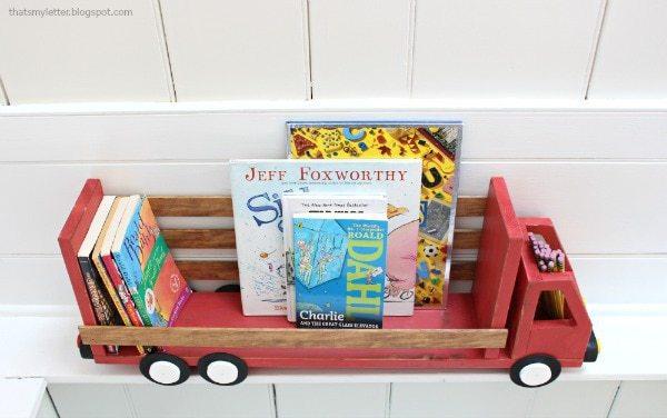 diy truck bookshelf