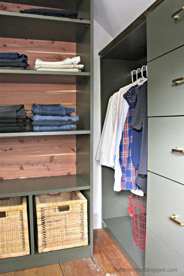 walk-in closet makeover with built-ins
