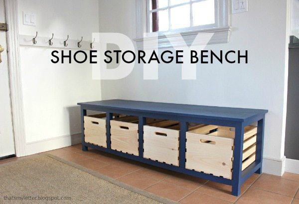 diy shoe storage bench with crates