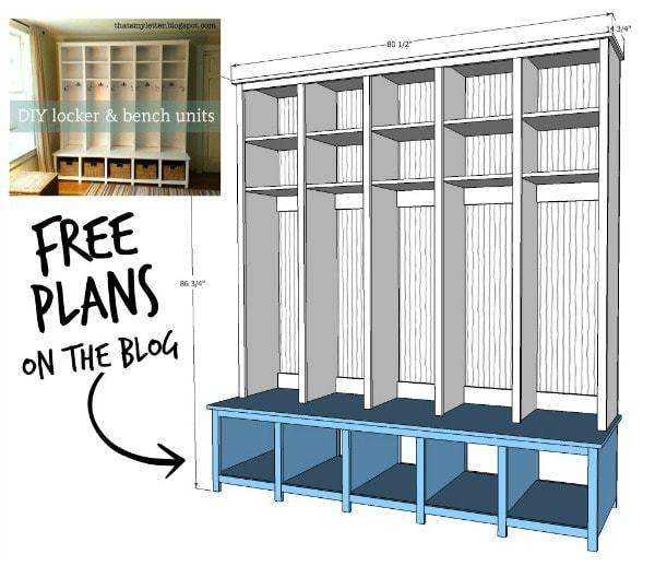 diy mudroom locker cubbies free plans
