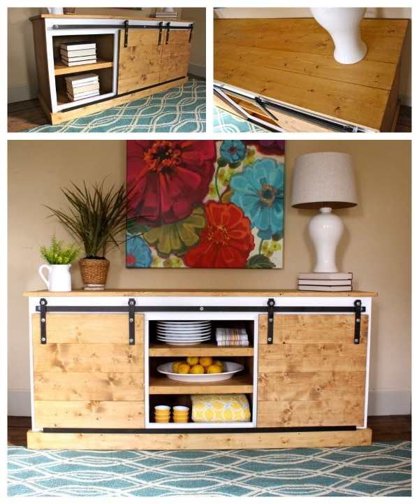 diy sliding barn door console multiple views