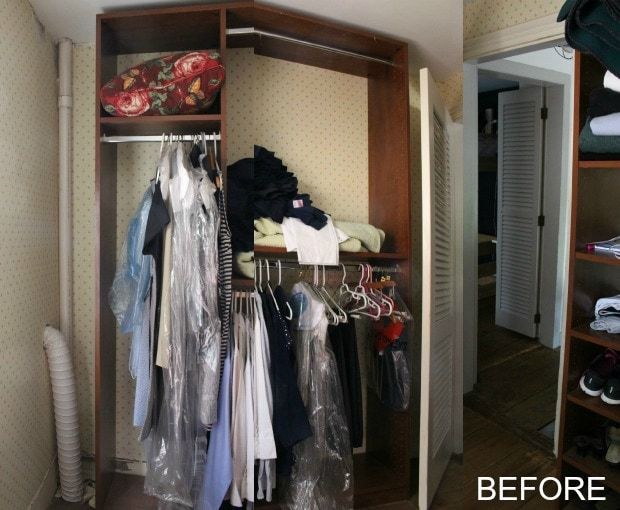 walk-in closet makeover with built-ins before, exposed venting