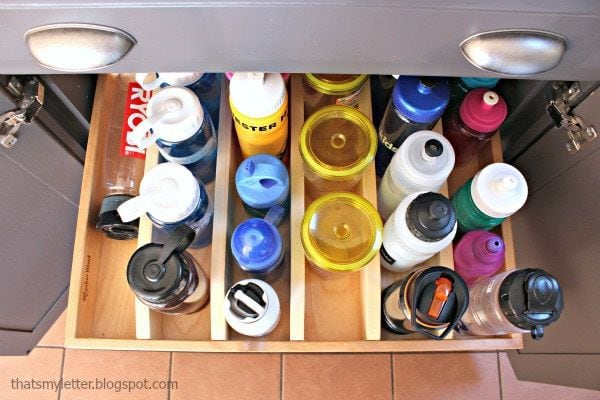 organized water bottles