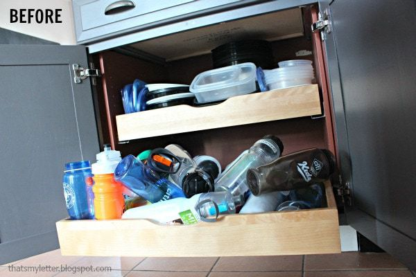 diy drawer dividers water bottle mess before