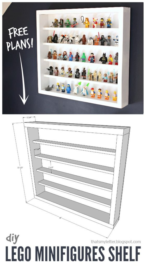DIY Lego Minifigures Shelf with Free Plans - Jaime Costiglio