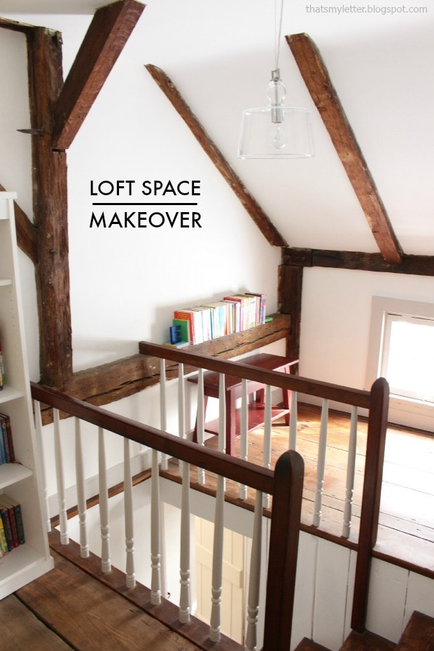 loft space makeover with beams