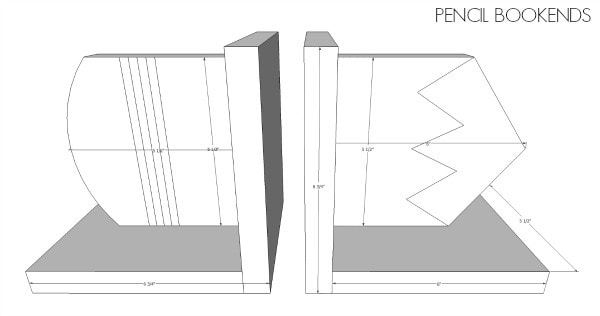 diy pencil bookends dimensions