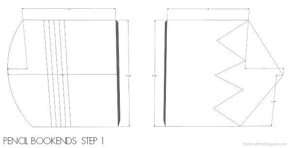 diy pencil bookends shape