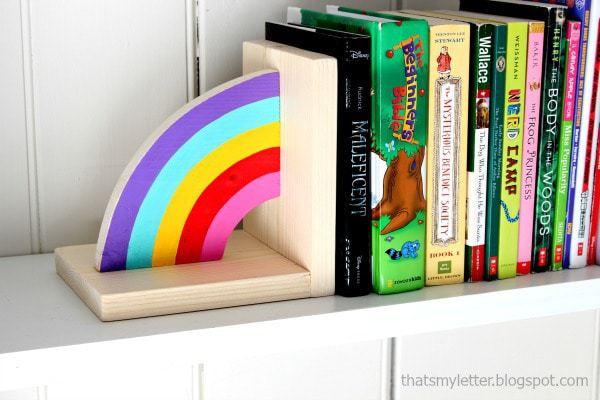 diy rainbow bookends