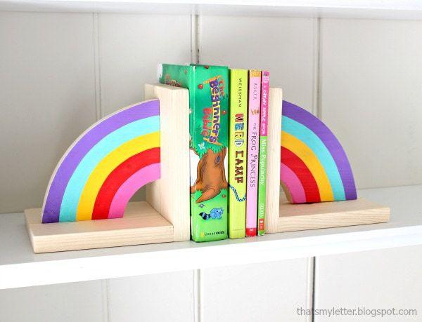 diy rainbow wood bookends