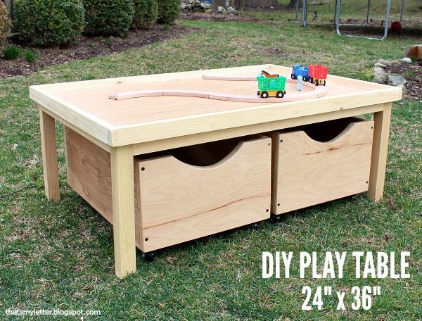 Admirable Diy Play Table 24 X 36 With Storage Bins Free Plans Bralicious Painted Fabric Chair Ideas Braliciousco