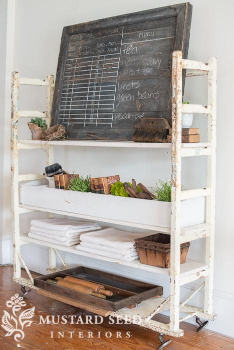 Miss Mustard Seed vintage shelving unit