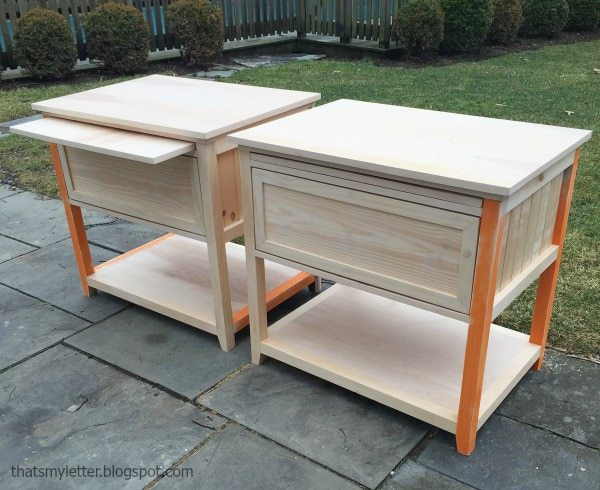 natural wood nightstands ready for paint