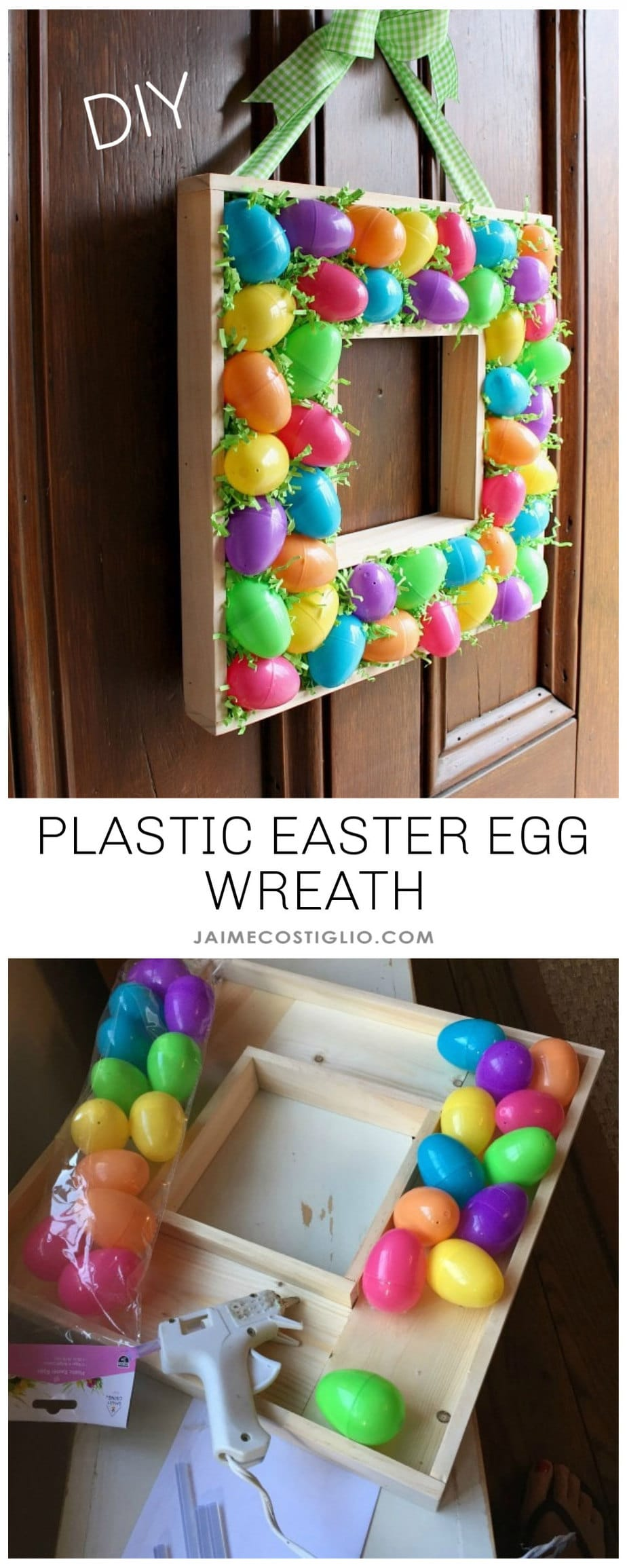 plastic Easter egg wreath tutorial