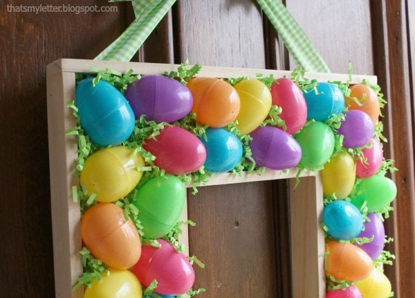 plastic eggs on wreath
