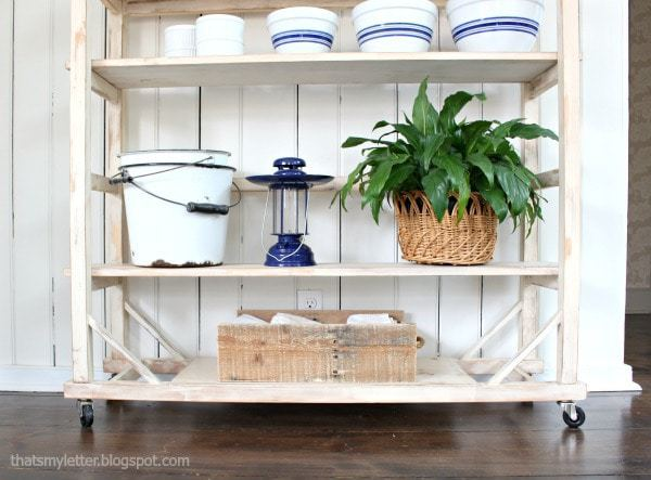 adjustable vintage shelving on casters