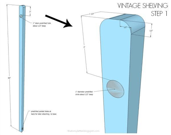 vintage shelving plans predrilled holes