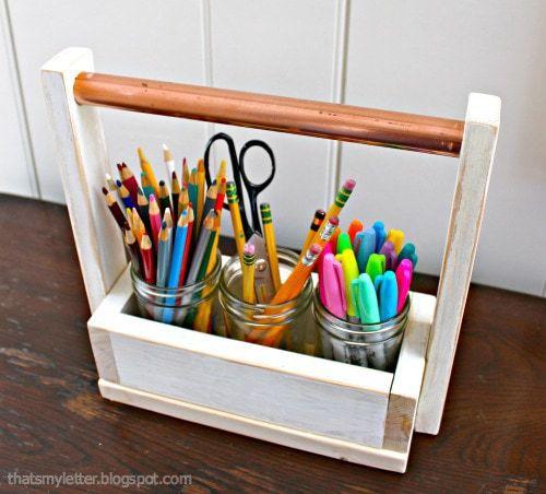 diy mason jar art supplies carrier