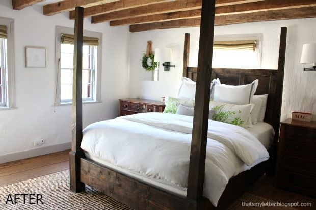 master bedroom ceiling with wood beams