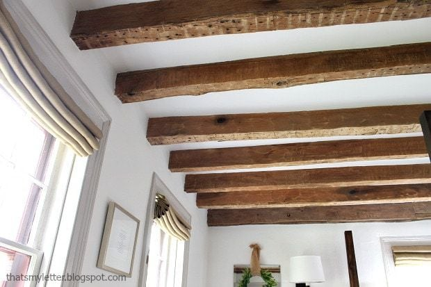 hand hewn original wood beams exposed