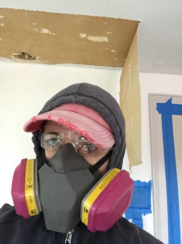 safety gear on for removing ceiling