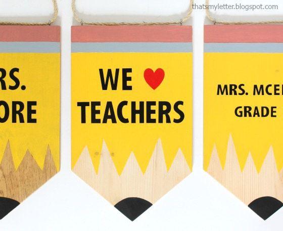 diy teacher pencil banner gift idea