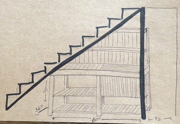 Brooklyn Limestone potting bench sketch