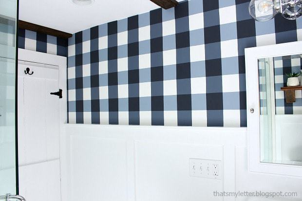buffalo check painted bathroom walls