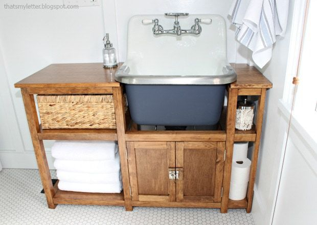 cast iron wall mount sink with wood vanity
