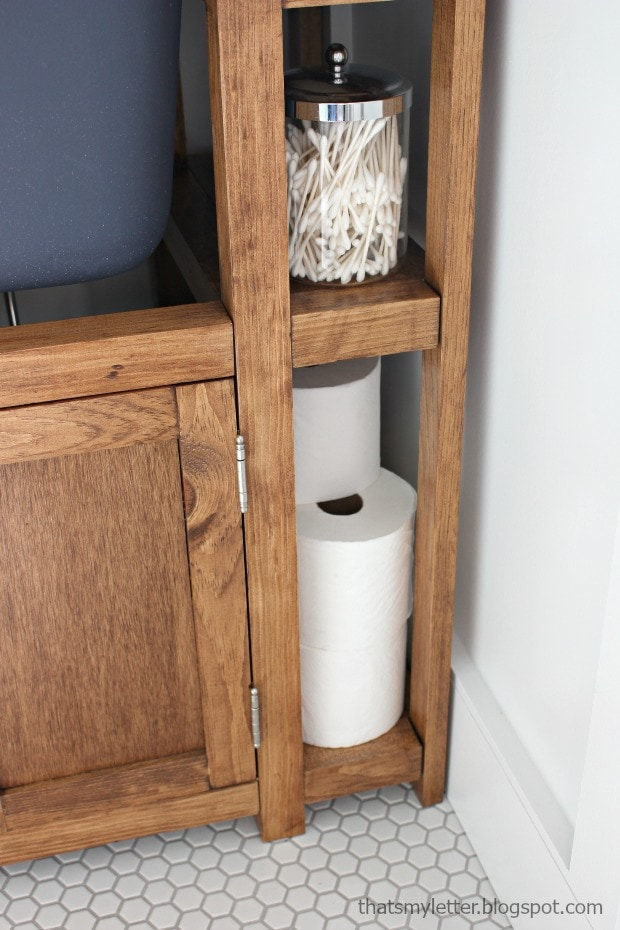 skinny shelf for toilet paper storage