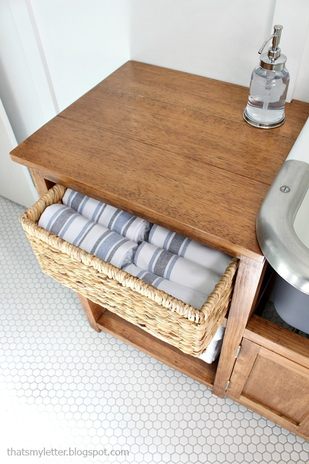 basket drawer in vanity