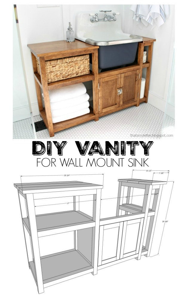diy vanity for wall mount sink free plans