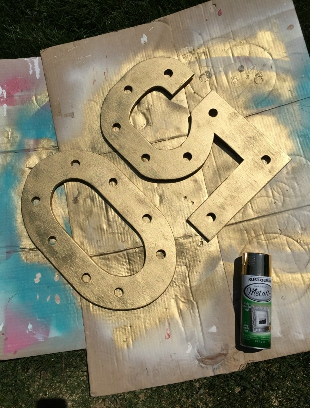 gold spray painted wood numbers