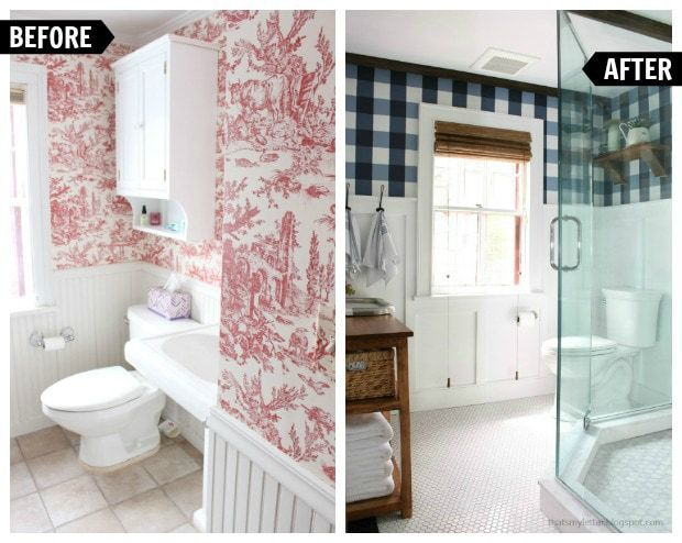 farmhouse style master bathroom renovation before and after