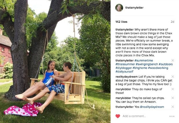 diy swinging bench on instagram