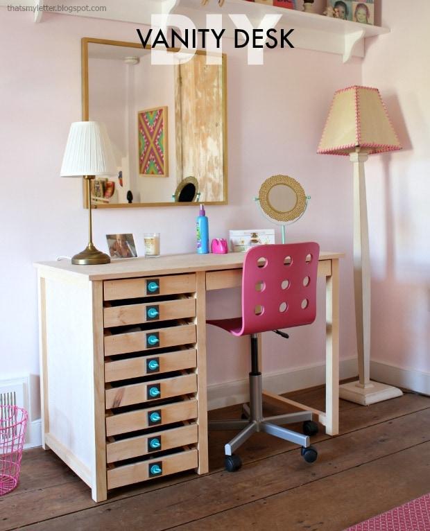 Diy Vanity Desk With Modern Hardware Pulls Jaime Costiglio