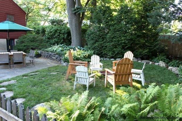 backyard fire pit and diy adirondack chairs