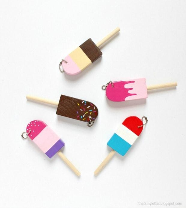 diy mini popsicle key fobs