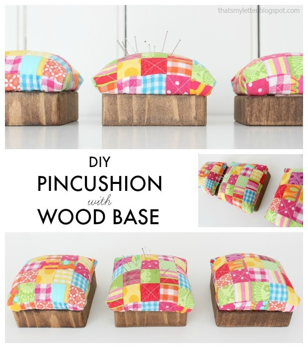 quilted pin cushion with wood base