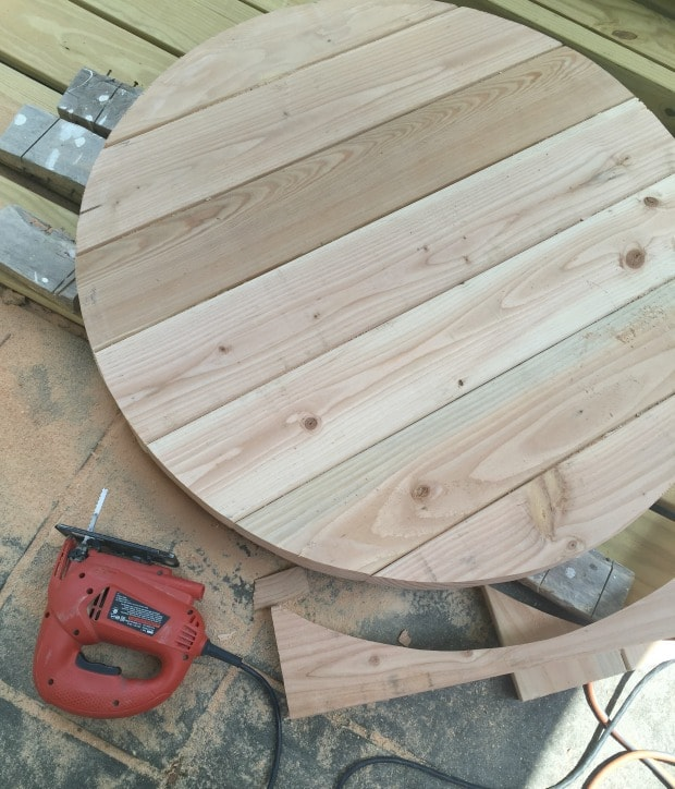 planked top for round coffee table